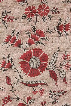 18th century French valance / textile. Beautiful woodblock printed textile with picotage ~   backed in homespun linen ~  www.textiletrunk.com