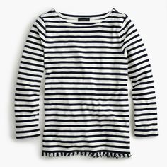 The J.Crew Valentine's Day Shop: women's striped boatneck T-shirt with fringe.
