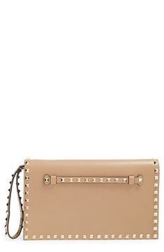 Valentino 'Rockstud' Leather Flap Clutch available at #Nordstrom