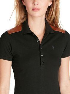 Skinny Leather-Trim Polo - Polo Ralph Lauren Polo Shirts - RalphLauren.com