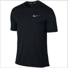 Men's Nike Dry Miler Running Top Black Size Large: With a classic crew-neck fit, the Men's Nike Dry Miler Running Top sets you up to hit your pace with breathable mesh panels and quick-drying fabric to help keep you cool. Tennis Shirts, Tee Shirts, Nike Pros, T Shirt Sport, Fit Team, Ralph Lauren, Running Shirts, Black Tops, My Style