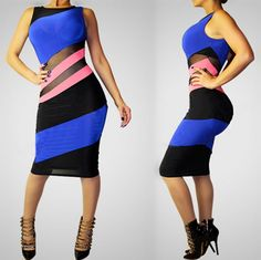 HOT SEXY WOMEN 2 COLOR STRIPES CLUBWEAR CLOTHES COCKTAIL PARTY LADIES BANDAGE BODYCON BLUE ROMPERS DRESS