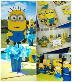 Despicable Me Minion themed birthday party via Kara's Party Ideas | Games, decor, cakes, party supplies, and MORE! KarasPartyIdeas,com #mini...