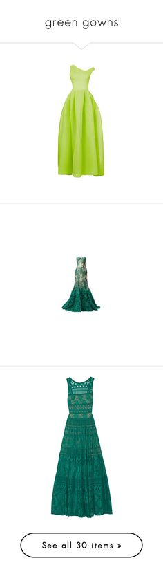 """""""green gowns"""" by lulucosby ❤ liked on Polyvore featuring dresses, gowns, green ball gown, green evening gown, green gown, green evening dress, green dress, long dresses, vestidos and green color dress"""