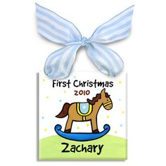 This adorable personalized ornament makes a wonderful gift for baby boy! Each ornament is personalized with a name and year, hand-painted and signed by artist Kathleen Virtue. This is truly a special Christmas gift! First Christmas Ornament, Babies First Christmas, Christmas Gifts For Kids, Xmas Ornaments, How To Make Ornaments, Christmas Baby, Christmas Stuff, Christmas Eve, Christmas Ideas