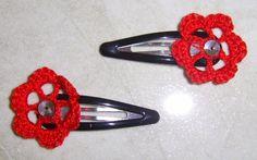 Horquillas de ganchillo flor en rojo