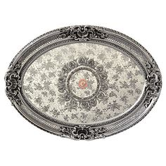 French Country Decorative Architectural  Oval Silver Rocaille Ceiling Medallion #Unbranded #Traditional