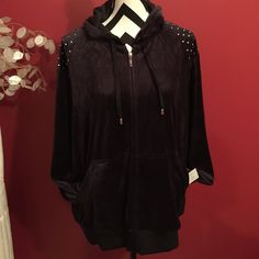 Black studded jacket Full Sleeved Front Zipper Hoodie with Studded Shoulder Detailing Boutique Jackets & Coats