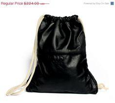 Leder Rucksack - SALE - schwarz Leder-Rucksack, Leder Sack, Leder-Tragetasche, Handtasche, Radfahrer-Tasche, Reisetasche, Fahrt Tasche, Sporttasche