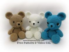 Teddy Bear - Free Amigurumi Pattern here: http://www.amigurumitogo.com/2014/11/crochet-teddy-bear-youtube-tutorial.html Videotutorial here: https://www.youtube.com/watch?v=DtAM9E7qsH0&index=20&list=PLbuVHsA9qzabFOAjvPv38sU2KbH1lcX3J