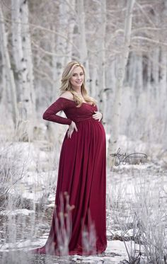 Designer lace maternity gown, featuring a sweetheart neckline, and maxi skirt in stretch jersey. Perfect for your next maternity photo shoot. Shop the Emma gown today! Maternity Poses, Maternity Portraits, Maternity Dresses, Maternity Fashion, Maternity Clothing, Maternity Style, Maternity Photo Outfits, Celebrity Maternity, Long Sleeve Maternity Dress