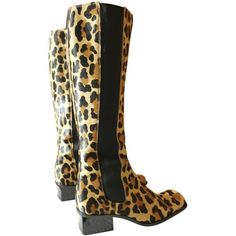 Pre-owned Dolce & Gabbana Leopard Print Pony Hair Knee High Boots 39,5... ($408) ❤ liked on Polyvore featuring shoes, boots, brown, women shoes boots, dolce gabbana boots, knee high boots, leopard knee high boots, leopard print boots and pony hair boots