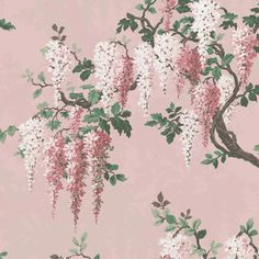 Wisteria in Pink Bloom Floral Wallpaper By Woodchip & Magnolia Pink Wallpaper Bedroom, Linen Wallpaper, Sunset Wallpaper, Print Wallpaper, Home Wallpaper, Leaves Wallpaper, Chinoiserie Wallpaper, Black Floral Wallpaper, Vintage Floral Wallpapers