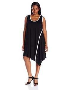 Karen Kane Womens Plus Size Angled Drape Dress Black 1X >>> Check out the image by visiting the link. (This is an affiliate link and I receive a commission for the sales)