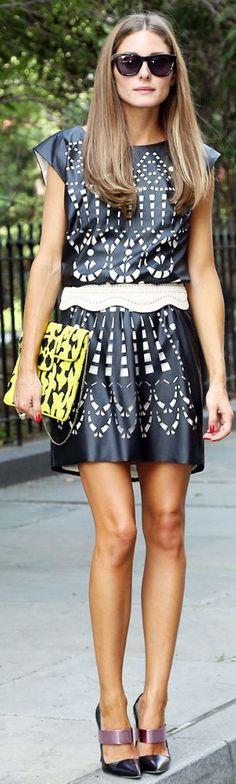 Women's fashion | Edgy patterned dress, clutch, heels