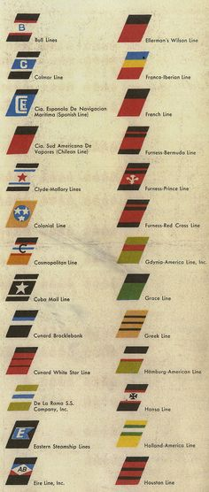 Funnel stack markings for steamship lines that docked in the Port of New York, pre-WWII. Icon Design, Logo Design, Graphic Design, Great Lakes Ships, Abandoned Ships, Merchant Navy, Flags Of The World, House Flags, Print Magazine
