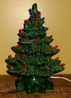 "Vintage Ceramic Christmas Tree~14 1/2"" High with Electric Light Base"
