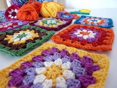 granny square with daisy center - my rose valley