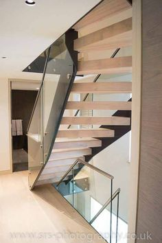 Steel Structure Modern Stair Gallery with solid timber treads and glass balustrade. A complete view of our completed projects with links to project pages. Oak Stairs, Glass Stairs, Steel Stairs, House Stairs, Home Stairs Design, Stair Design, Stainless Steel Staircase, Bespoke Staircases, Stair Gallery