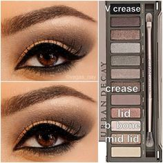 Steps for Smokey Brown using the Urban Decay Naked Palette 2 1.) prime eye w/ urban decay primer potion; & pat CHOPPER on lid 2.) blend out SNAKEBITE in crease & BOOTYCALL to brow bone 3.) w/ an angled shading brush; apply BLACKOUT TO V crease & blend over SNAKEBITE to darken; blend well 4.) then apply HALF BAKED (gold) to middle of lid and slightly blend outward over CHOPPER to make lid pop by LauraBoop