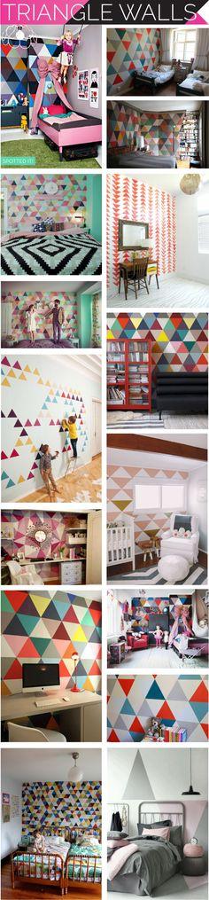 triangle walls, triangle painted walls, triangle wallpaper, i suwannee, accent wall, kid's room, #DIY insipiration, stencil wall