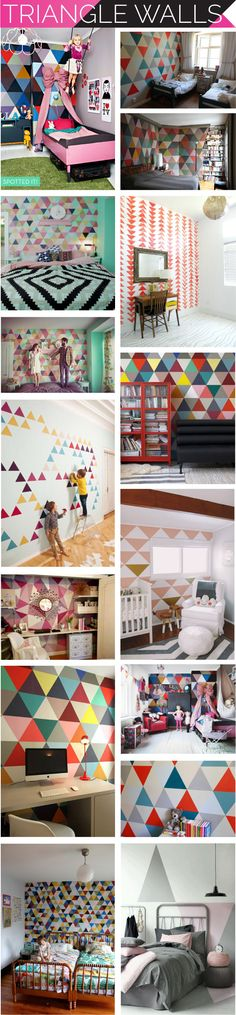 triangle walls, triangle painted walls, triangle wallpaper, i suwannee, accent wall, kid's room, #DIY insipiration, stencil wall