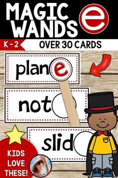 This incredibly easy word work station is great practice for CVCE/Magic e! (Silent E) There are 33 word cards that MAGICALLY transform from short vowel words to Magic e Words! (Long Vowels) Kids love this silent e activity. vowel, Magic e ACTIVITIES Short Vowel Games, Short Vowel Activities, Word Study Activities, Phonics Activities, Classroom Activities, Cvce Words, Nonsense Words, First Grade Phonics, Kindergarten Phonics