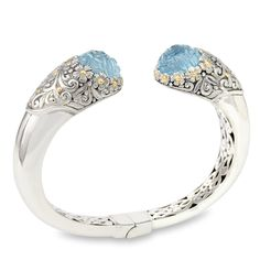Carved Blue Topaz Sterling Silver Bangle with 18K Gold Accents   Cirque Jewels