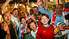 Portugal fans celebrate victory against the Czechs