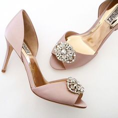 "Badgley MIschka Wedding Shoes. Dana in a fabulous blush shade for all year around color. A classic D'Orsay style on a 3 1/4"" heel with a fabulous sparkling ornament at the toe."