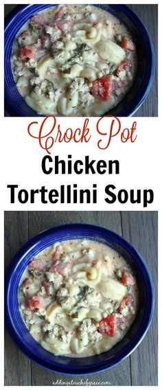 This Crock Pot chicken tortellini soup is so simple to make.  5 minutes of prep time for a divine meal at the end of a long day.