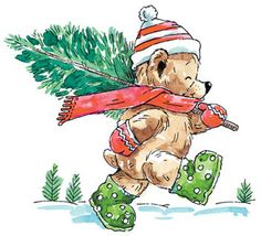 Christmas Tree Ted - Rubber Stamp