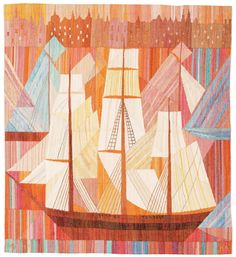 """STRANDVÄGSSKUTA"".  Tapestry weave variant (gobelängvariant). 104,5 x 95 cm. Signed AB MMF MR.  (AB Märta Måås-Fjetterström, Marianne Richter). Designed in 1961. A label sewn at the back."
