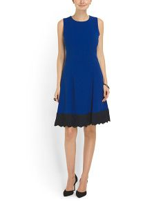 image of Fit And Flare Lace Trim Dress