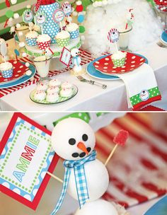 Snowman Party--John Mark--love these colors!