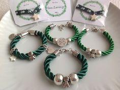 Pulseras de San Lorenzo (Huesca) / pulseras cordón de seda en blanco y verde