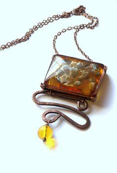 Dark Amber Copper Pendant by LunaEssence on Etsy, $29.00