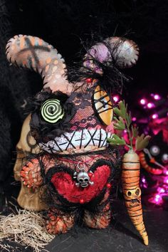 OOAK NEW ORLEANS VOODOO DOLL CREEPY BUNNY HAUNTED HALLOWEEN SPOOKY ZOMBIE SPELL #NaivePrimitive