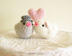 Love Birds Wedding Cake Topper Decoration Crochet Bride and Groom With Heart Custom Colors by Cherrytime