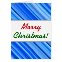 """""""Merry Christmas!""""  Stripes of Blue Pattern Card - pattern sample design template diy cyo customize"""