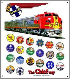 Santa Fe, AT&SF, Atchison Topeka & Santa Fe, Train Logos, 10x12 Metal Sign.