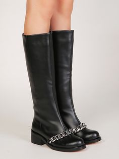 Black Chain Embellished Pull-on Leather Knee High Boots | Choies