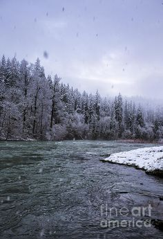 Another Snowy Day by Belinda Greb #river #winter #landscape
