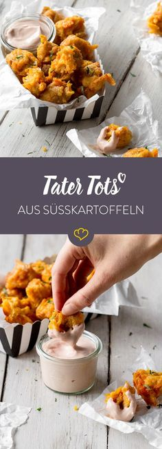 - Süßkartoffel Tater Tots mit cremigem Ketchup-Joghurt-Dip For these Tater Tots, all you need to do is cook the sweet potato, grate it, make it into balls and fry it. There is also a creamy ketchup yoghurt dip. Vegetarian Sweets, Vegetarian Recipes, Snack Recipes, Sweet Potato Tater Tots, Grilling Recipes, Cooking Recipes, Fingers Food, Potato Appetizers, Potato Snacks