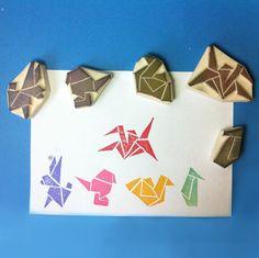 Origami Handmade Rubber Stamp, set of 5 - Bird stamp, Rabbit stamp, crane stamp, swan stamp, penguin stamp