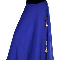 Blue Faux Georgette Readymade Long Skirt