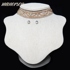 Manerson Women Crystal Choker Necklace Beaded Layered Collar Choker Maxi Collares For Wedding Collar Necklace With Match Earring