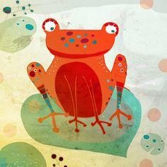 FROG art print // orange animal illustration // by schalleszter Frosch Illustration, Children's Book Illustration, Digital Illustration, Architecture Art Design, Classroom Architecture, Wonder Art, Frog Art, Illustrations Posters, Animal Illustrations