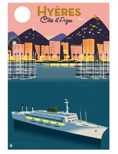 Monsieur-Z travel posters Art Deco Posters, Vintage Travel Posters, Poster Prints, Tourism Poster, Artist Management, Retro Illustration, New Poster, French Riviera, Illustrations And Posters