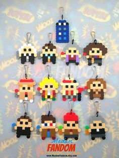 DOCTOR WHO Party Favors Set of 12 PLUS Tardis perler beads by MadamFANDOM ◄► These Perler Bead designs were created by MadamFANDOM ◄►